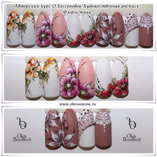 Флористика для ногтей дизайн